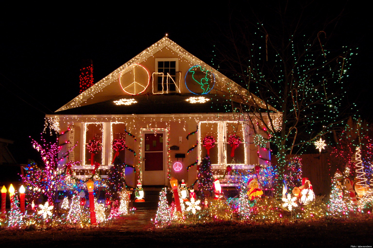 Tacky christmas lights displays photos videos huffpost Holiday decorated homes