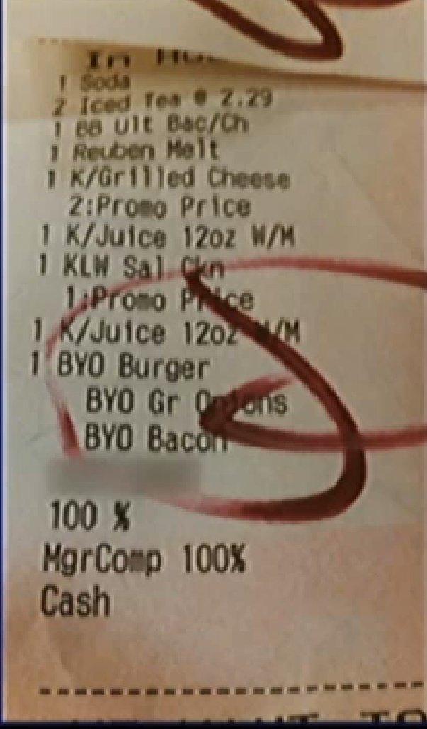 friendlys restaurant receipt