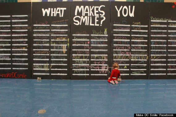 what makes you smile chalk mural
