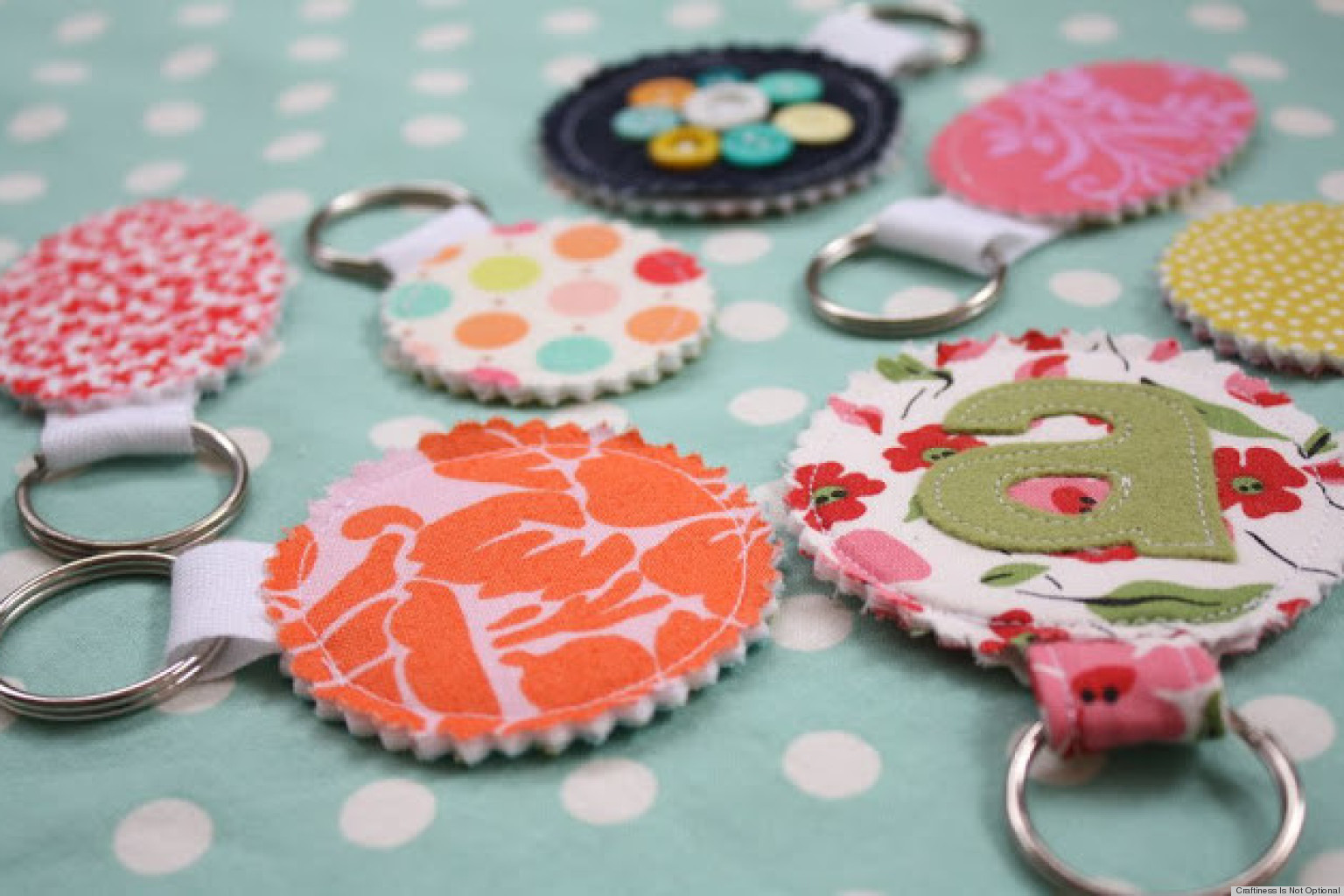 Homemade gift ideas fabric scrap keychains perfect for for Easy gift ideas