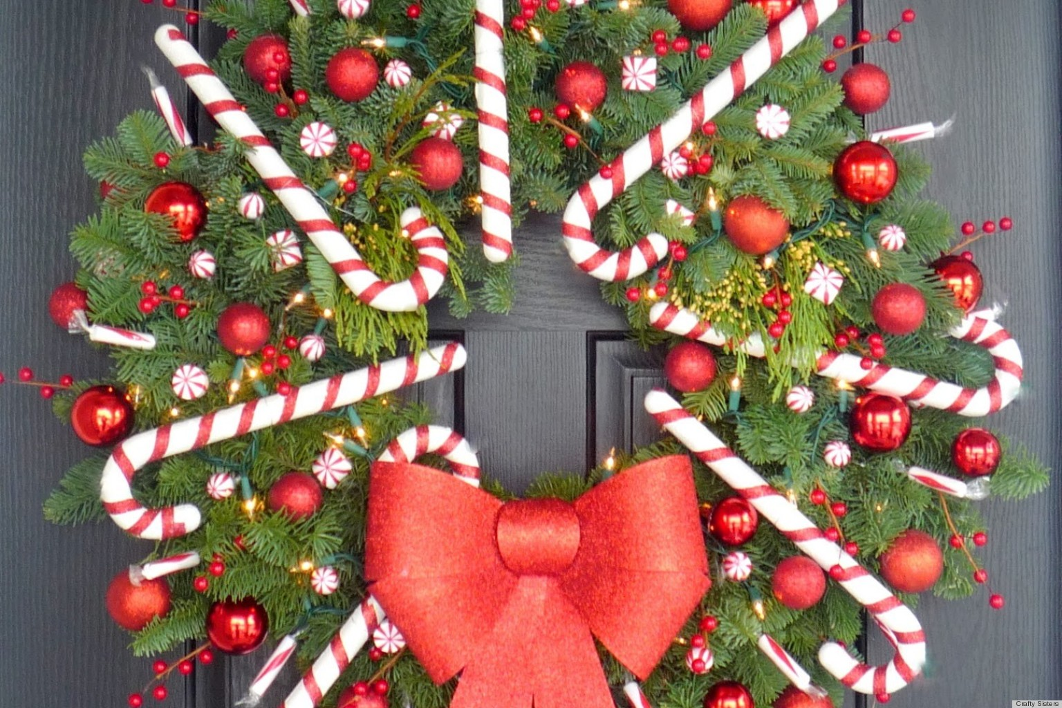 Christmas craft idea a candy cane wreath that ll make your door