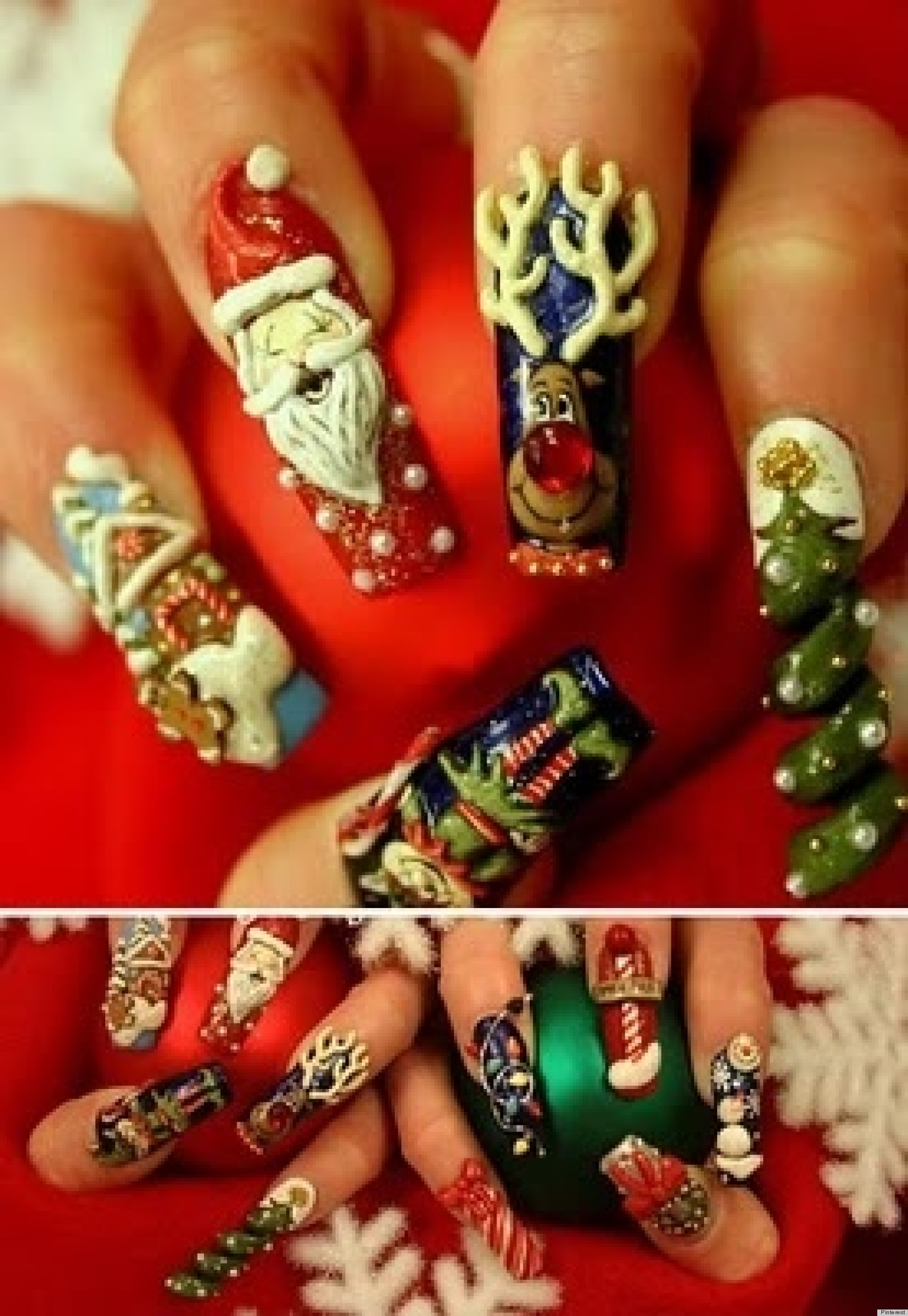 Christmas Nail Art: Santa Claus, Rudolph The Red-Nosed Reindeer And More Holiday Manicures