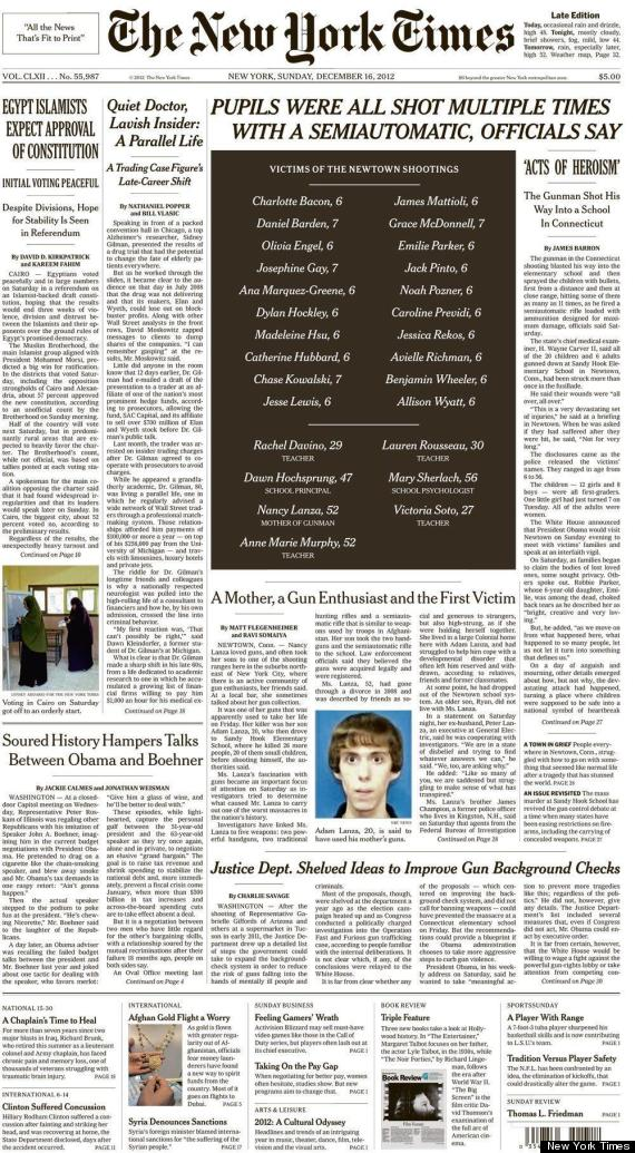 New York Times, Other News Outlets Run Newtown Shooting Victims' Names ...
