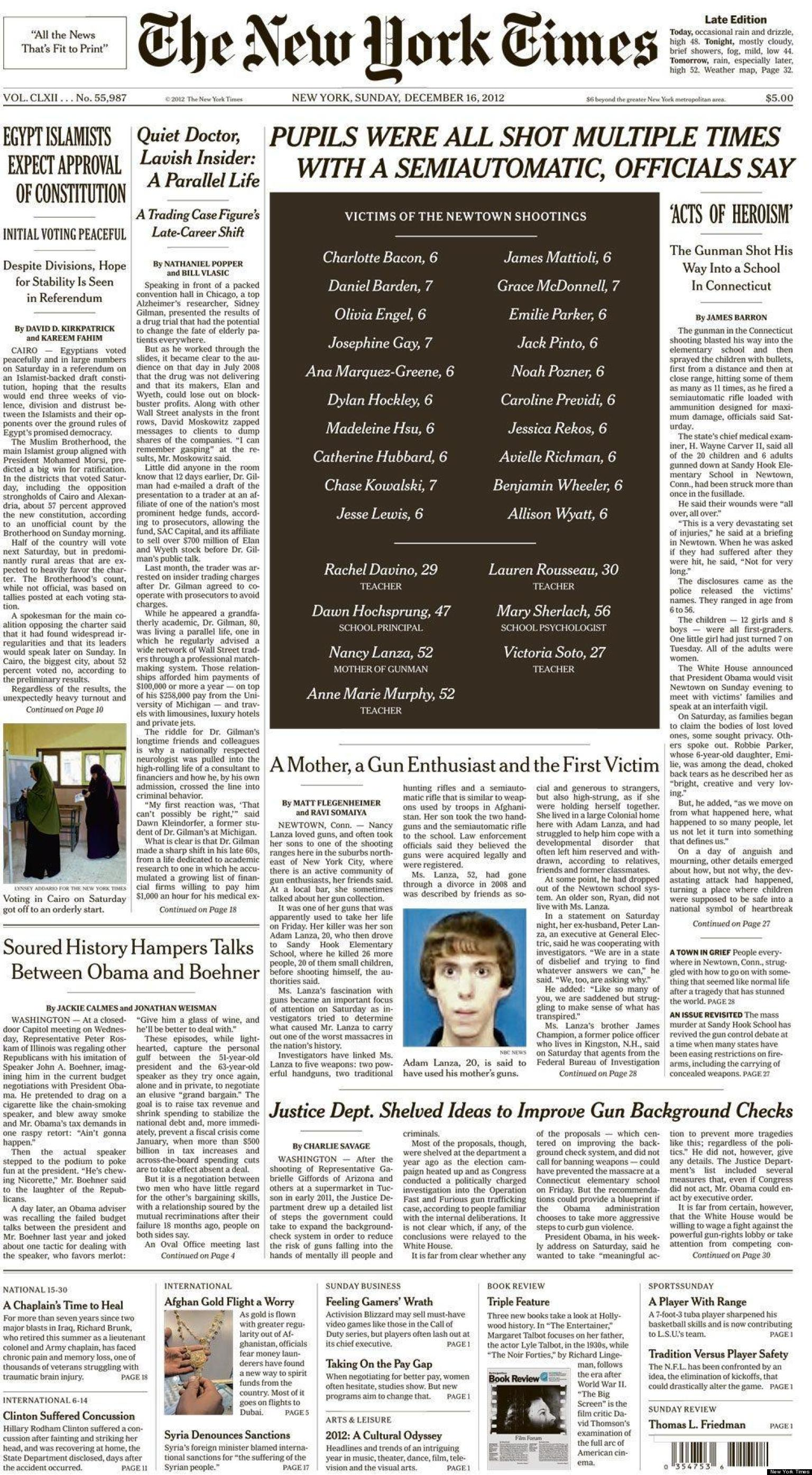 new york times  other news outlets run newtown shooting