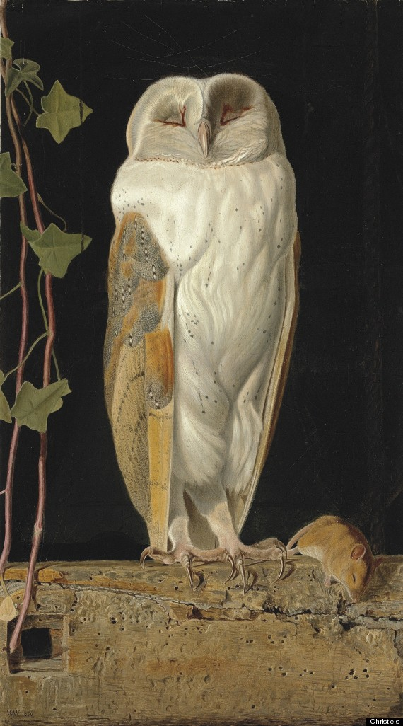 William James Webbe (fl.1853-1878), The White Owl, 'Alone and warming his five wits, The white owl in the belfry sits,' signed with monogram and dated '1856' (lower left), oil on board, 17¾ x 10 3/8 in. (45 x 26.3 cm.) © Christie's Images Limited 2012
