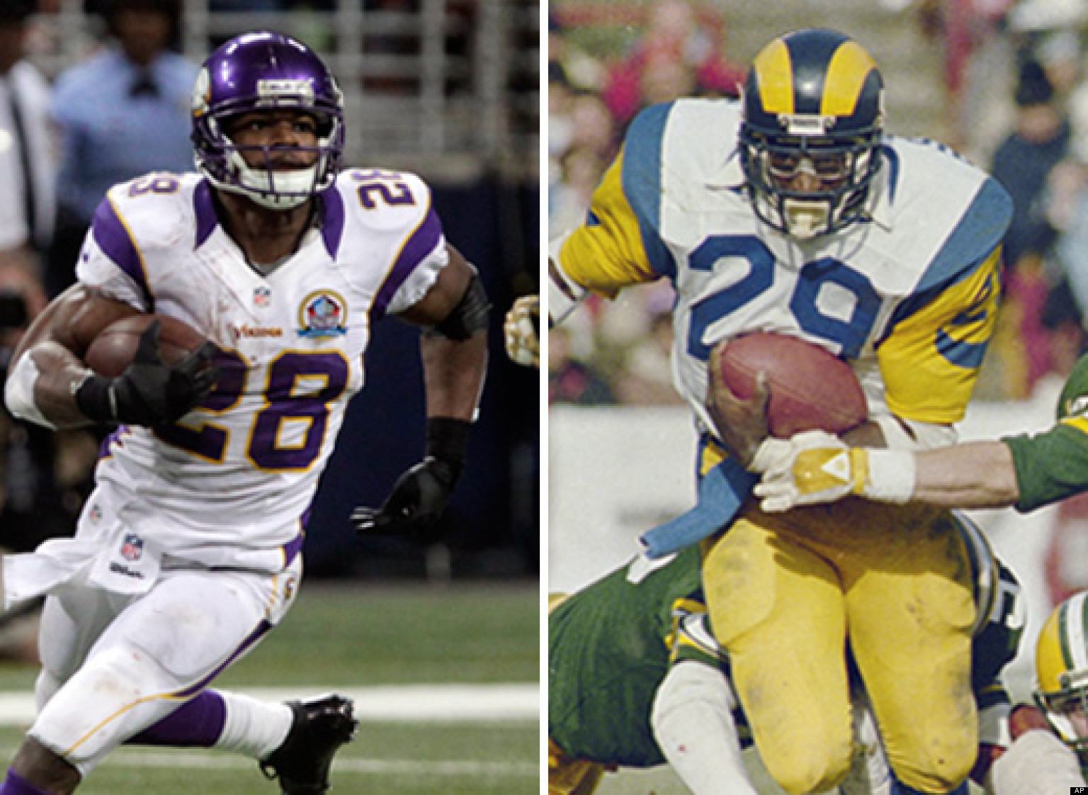 Adrian Peterson Vs Eric Dickerson Vikings Star On Pace