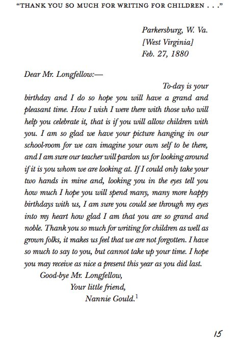 Letter from a young fan to henry wordsworth longfellow on his birthday