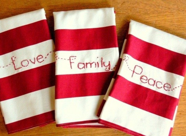 Embroidered napkins that will add a last minute homemade