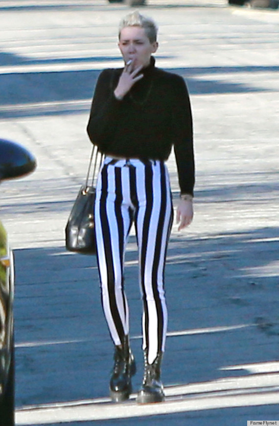 miley cyrus striped pants