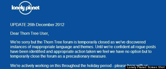 LONELY PLANET THORN TREE CLOSURE