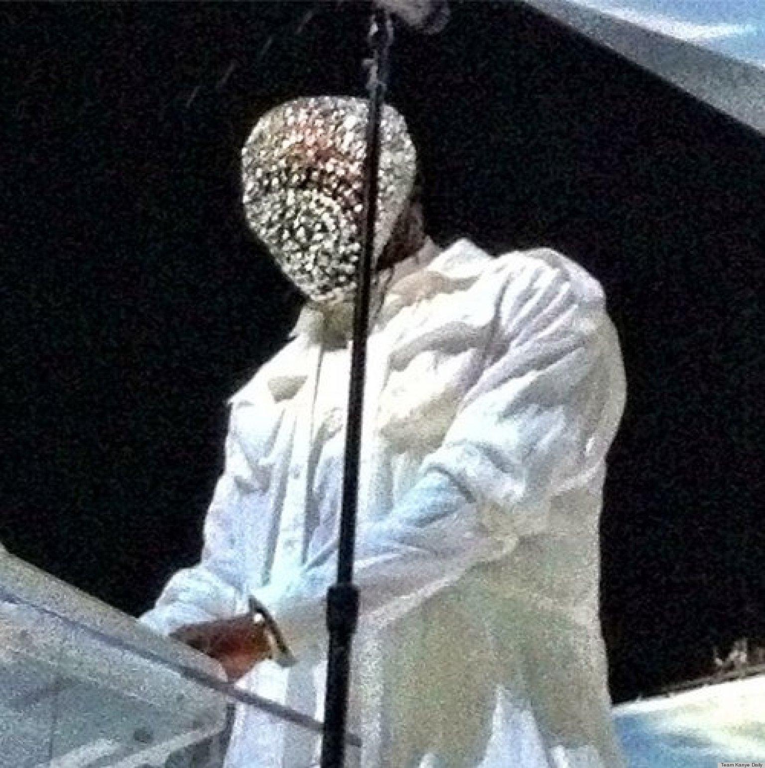 kanye west wears crystal maison martin margiela mask at