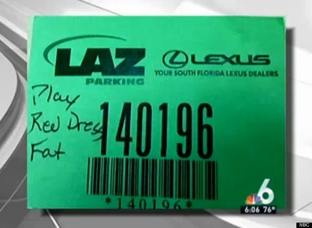 valet ticket calls woman fat