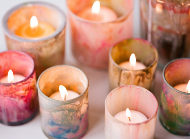 painted votive candle holders