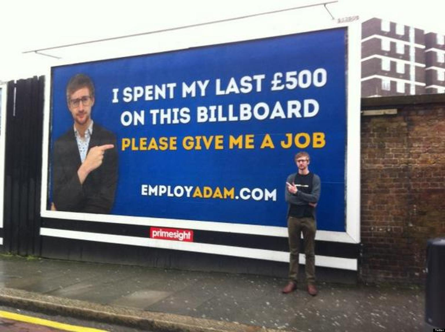 jobseeker adam pacitti spends  u00a3500 on london billboard in desperate attempt to find work