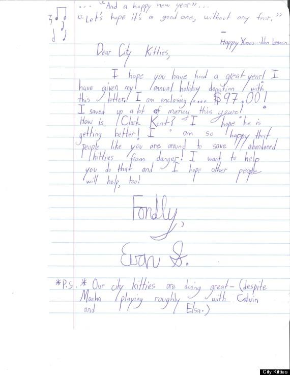 Evan 10 year old philadelphia boy sends letters and allowance evan city kitties 2011 spiritdancerdesigns Images
