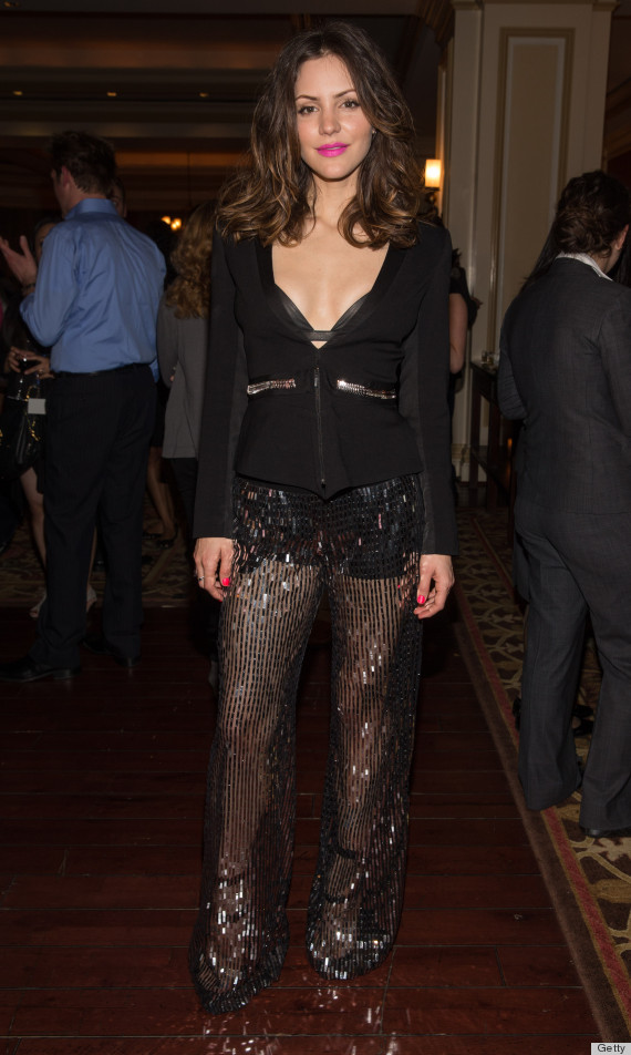 Katharine McPhee's Sheer Pants, Leather Bra Leave Us ...
