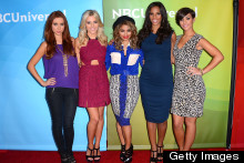 Rochelle Humes Shows Off Baby Bump Red Carpet Style With The Saturdays in LA