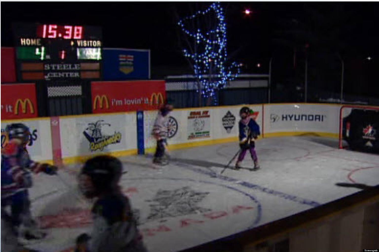 leduc backyard hockey rink looks just like what the pros use