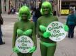PETA Protest Calgary: Activists In Green Bikinis, Bodypaint On Stephen Avenue Ask Calgarians To Go Vegan (PHOTOS)
