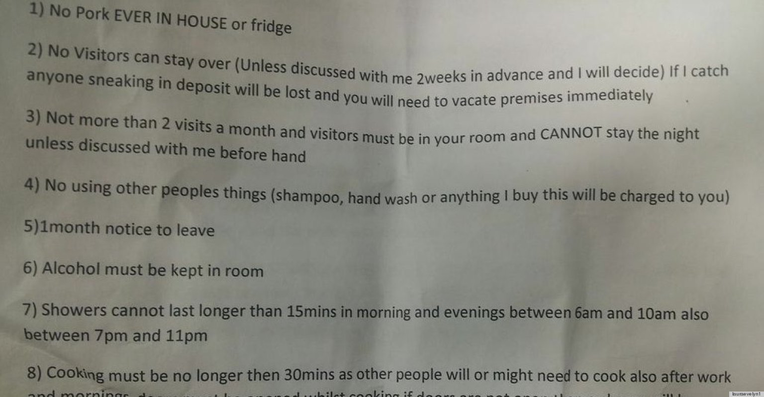 renter rules go too far in this unbelievable letter from
