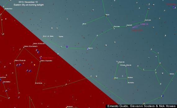 comet sky map