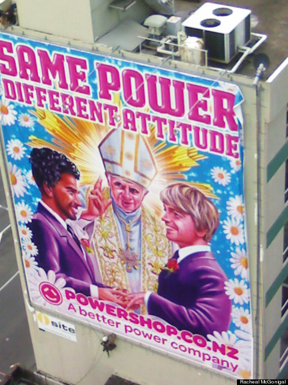 pope gay marriage ad billboard
