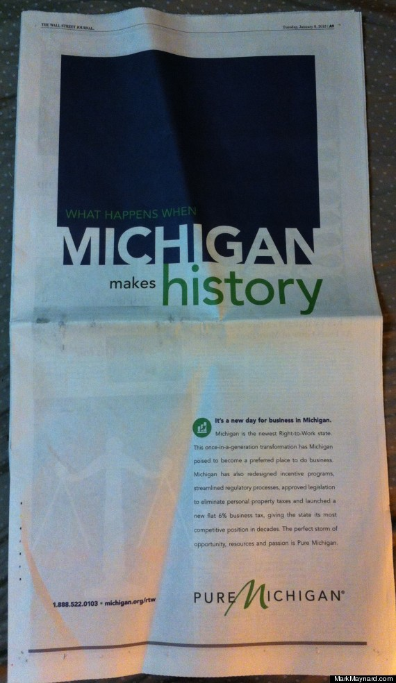 pure michigan right to work ad wall street journal