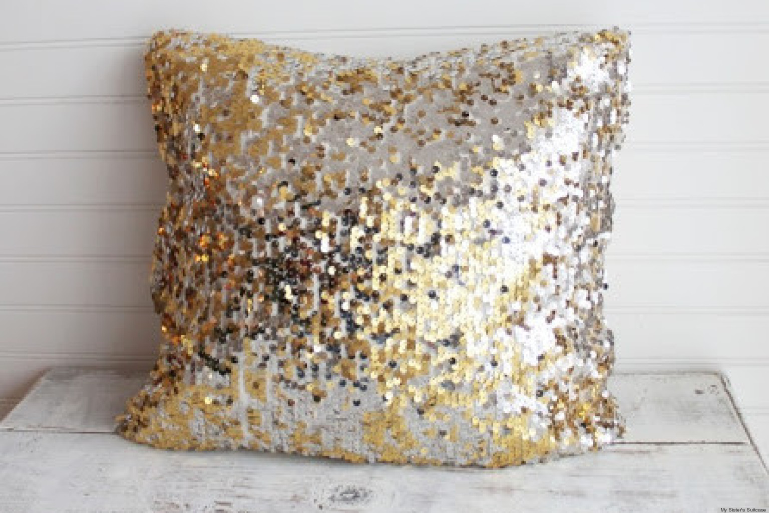 add some sparkle to your decor with a sequin throw pillow huffpost - Gold Decorative Pillows