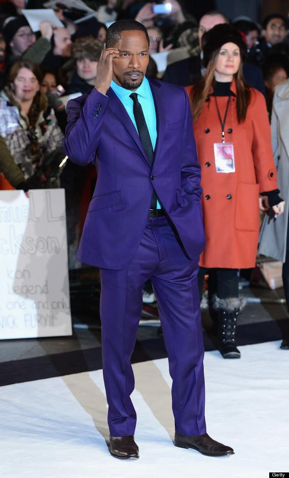 Jamie Foxx's Purple Suit: Actor Wears Bold Getup To 'Django' UK ...