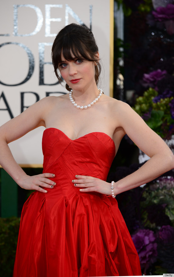 zooey deschanel golden globes nail art