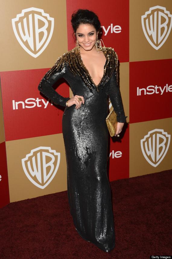 Vanessa Hudgens Golden Globes Star Flaunts Cleavage In Plunging