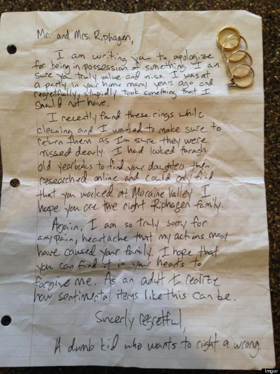 Thief Returns Stolen Rings  Apology Letter To Family