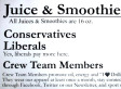 George Burnett's I Love Drilling Smoothie & Juice Bar Adds $1 Surcharge For Liberal Customers