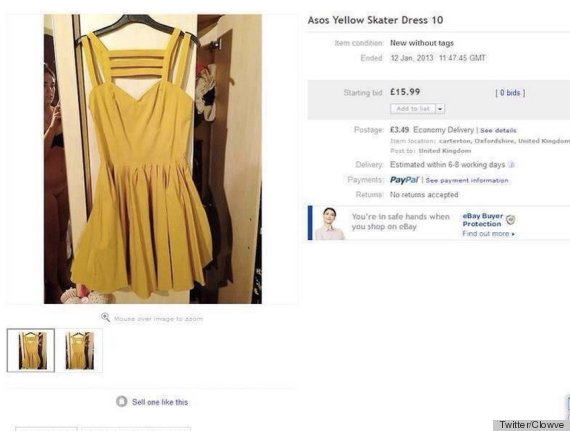 ebay yellow skater dress