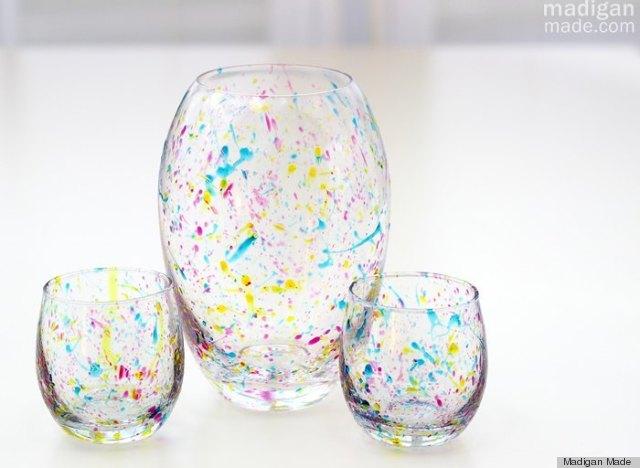 paint splattered vase