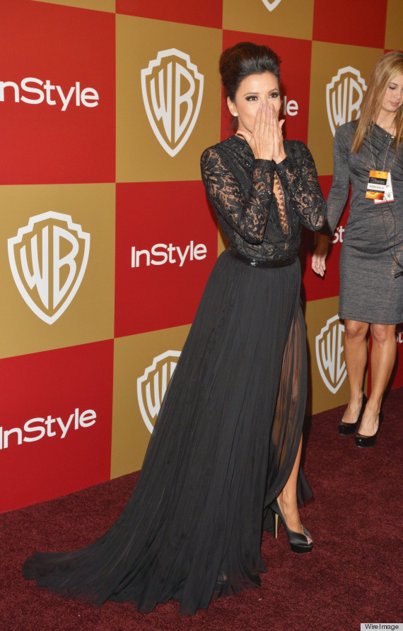 Eva Longoria Suffers Wardrobe Malfunction At The Golden Globes After