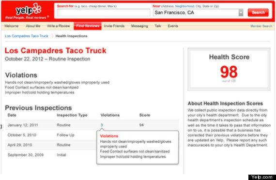 yelp adds restaurant grades