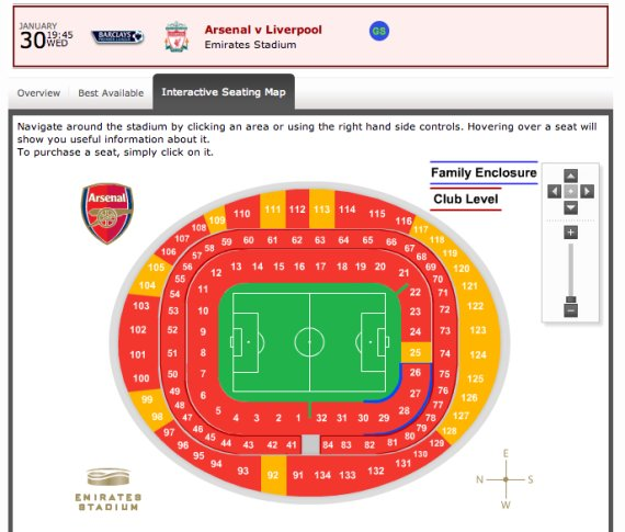Emirates Stadium Seating Plan View Arsenal Stadium Seating Plan