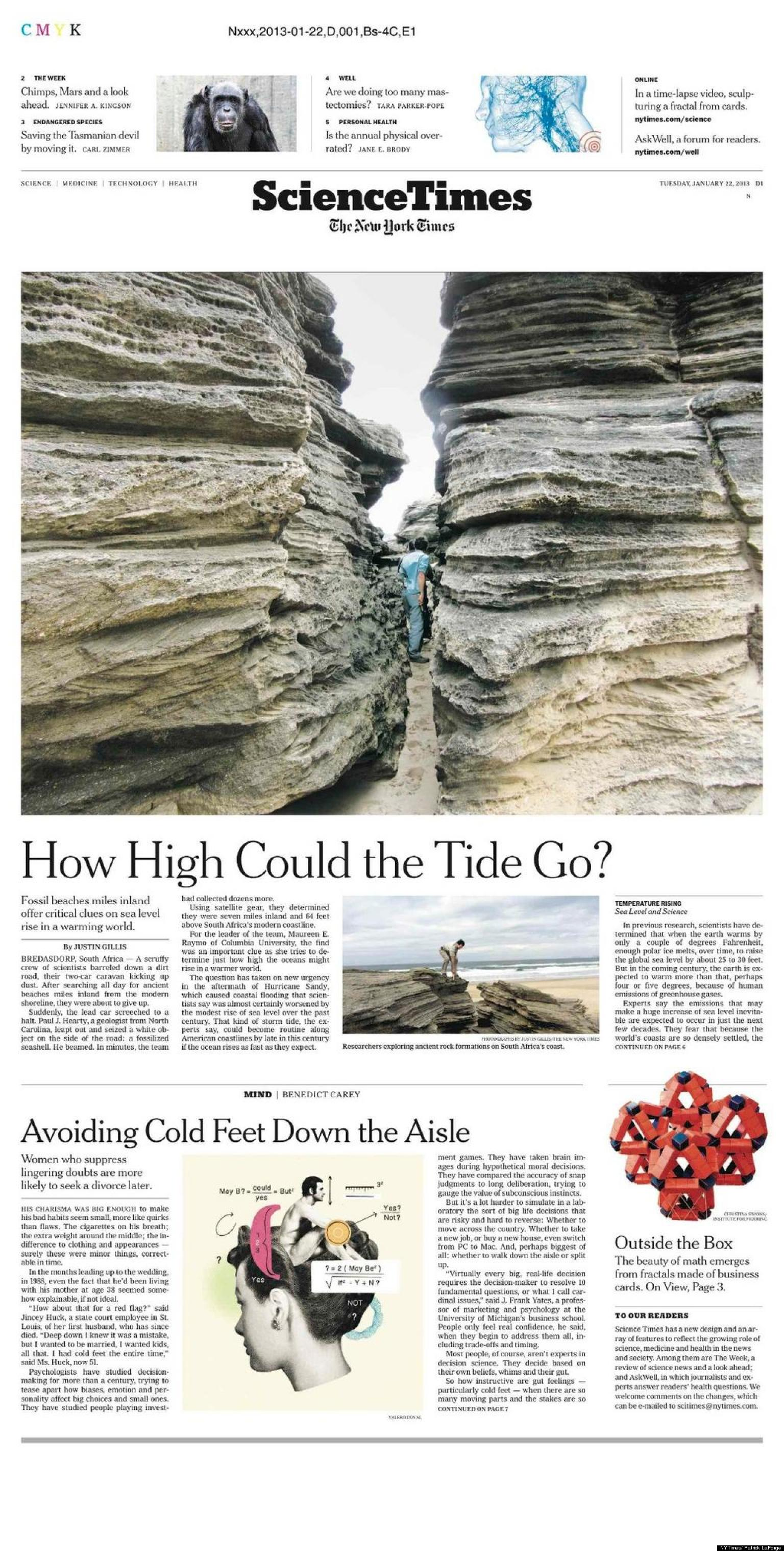 New york times hits stands with redesigned feature section for News section design