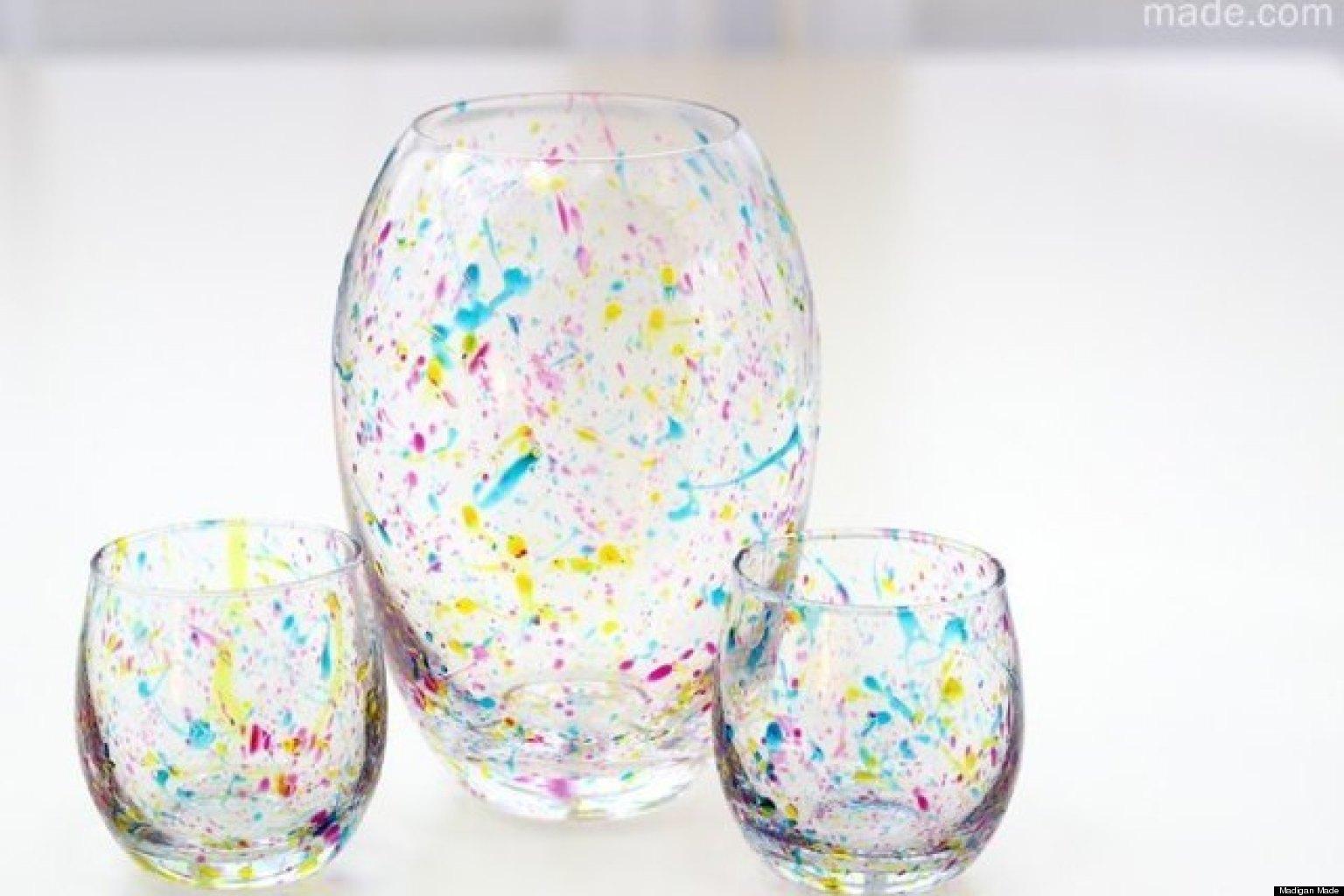 Декор прозрачной вазы своими руками фото