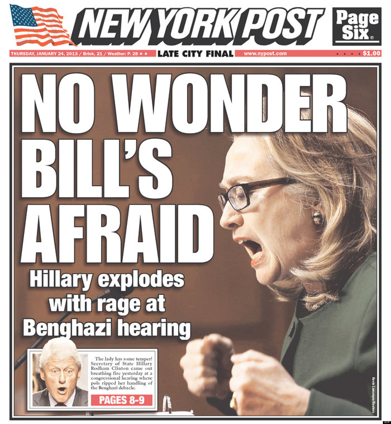 New York Post's Raging HIllary Clinton Cover (PHOTO)