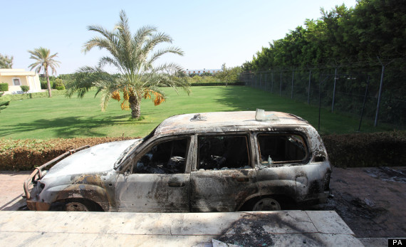 benghazi car burnt