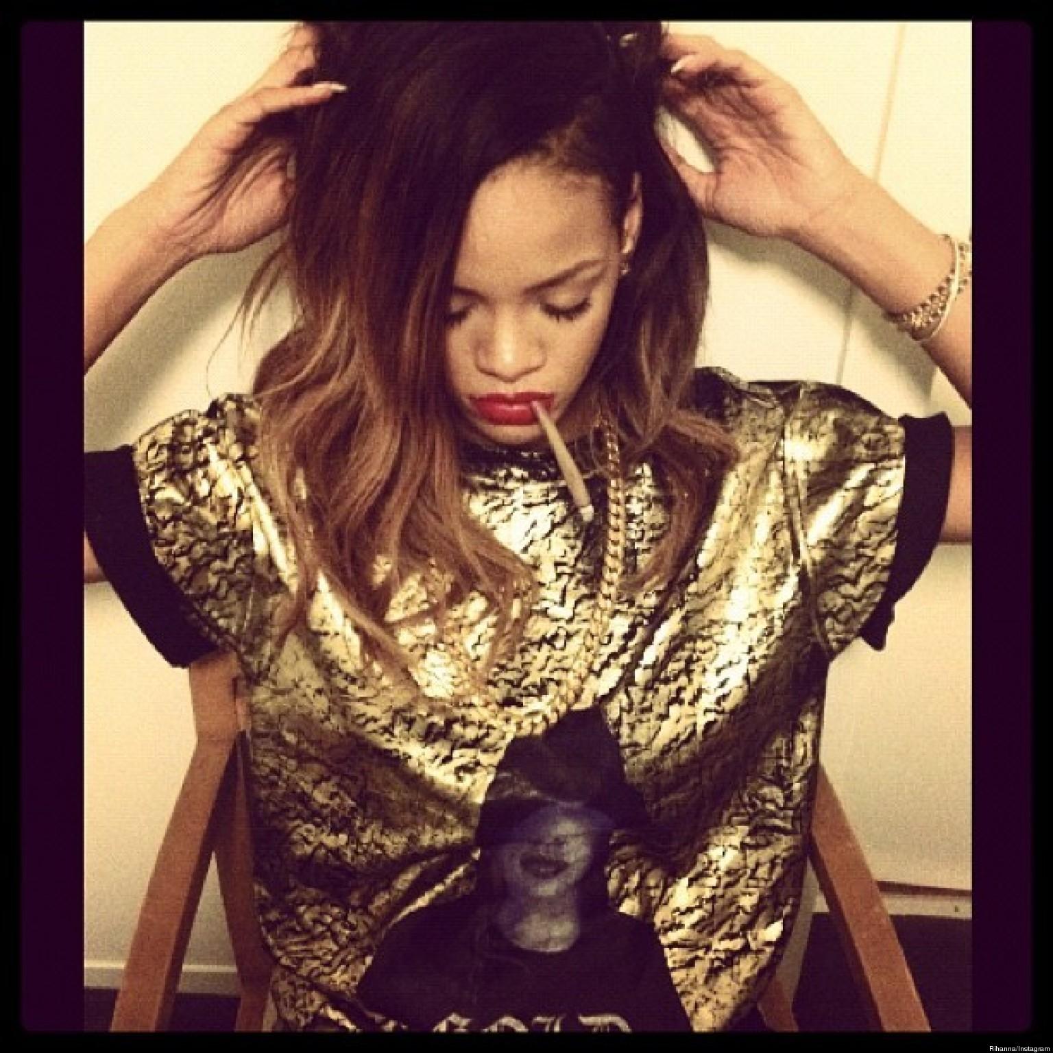 Rihanna's Smoking Phot... Rihanna Instagram
