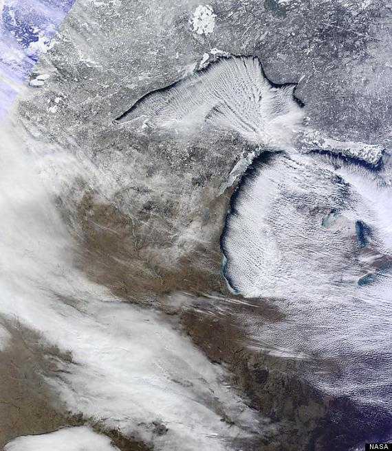 great lakes nasa photo michigan snow