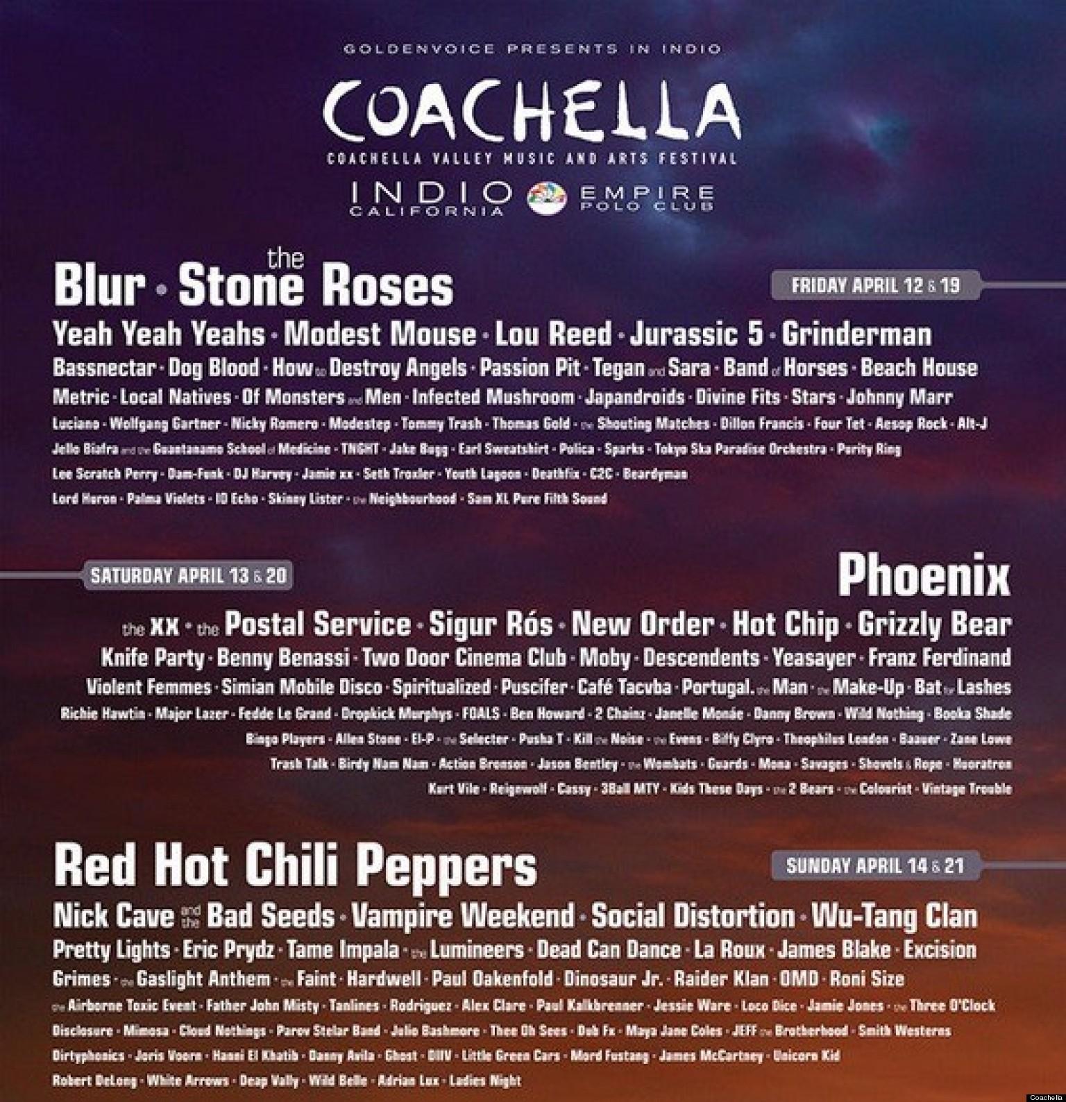 Coachella 2013 Lineup Announced: Blur, The Stone Roses