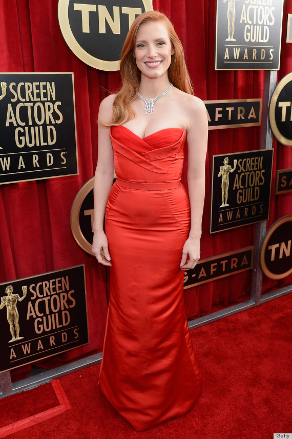 Jessica Chastain Channels Jessica Rabbit At The Sag Awards Photos