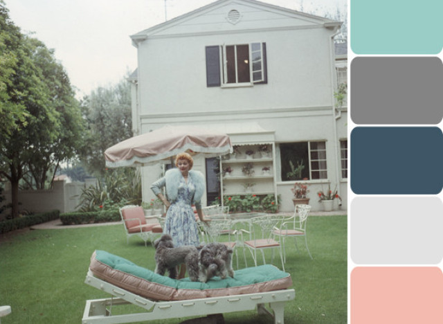 Lucille Ball's Backyard Offers Dreamy Pastel Color Inspiration (