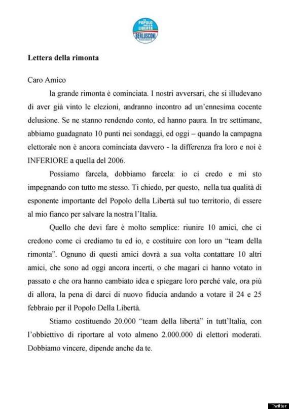 lettera della rimonta berlusconi