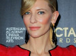 Cate Blanchett Sports Odd Red Latex-Like Gown (PHOTOS)