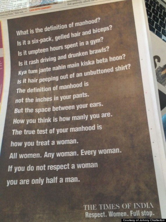 Times Of India S Definition Of Manhood Ad Tells Men To Respect